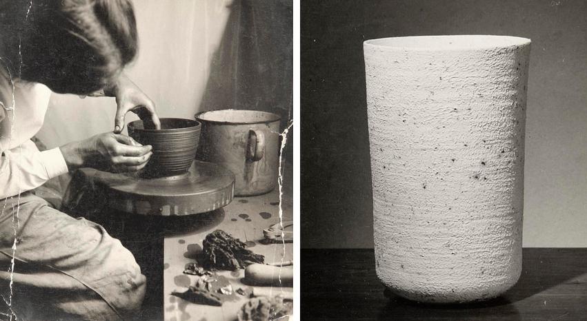 Lucie Rie an der Töpferscheibe in Wien und eine von ihr geschaffene Vase, 1930er Jahre | Foto via vads.ac.uk