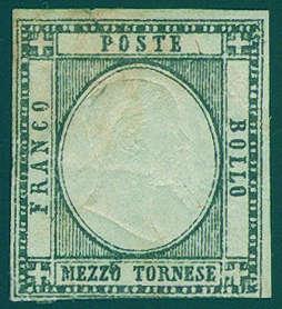 """ITALIEN - 1/2 Tornese 1861, der spektakuläre Farbfehldruck """"SCHWARZ STATT GRÜN"""" Ausruf: 15.000 EUR"""