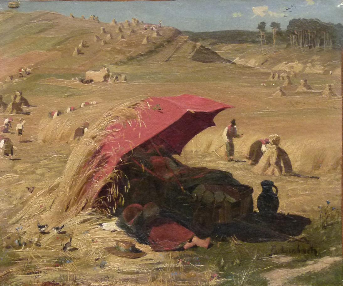 """Franz Seraph von Lenbach (1836 Schrobenhausen – 1904 München), Bauern bei der Heuernte """"Der rote Schirm"""", signiert, Ölmischtechnik auf Papier auf Leinen, Sammlerstück Schätzpreis: 6.000 EUR"""