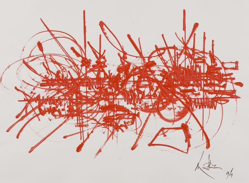 """Georges MATHIEU (1921-2012)  """"Mémoire vagabonde, 1994"""" Gouache acrylique rouge sur vélin Signée en bas à gauche"""