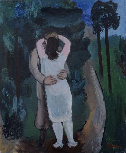 """Johannes Beutner """"Liebespaar"""" (Umarmung). 1932. Öl auf sehr kräftiger Malpappe. Ligiert signiert """"Jbeutner"""" und datiert u.li. In einem hochwertigen, farbig gefaßten Rahmen, gerahmt 110 x 94,5 cm. Schätzpreis: 8500 EUR"""