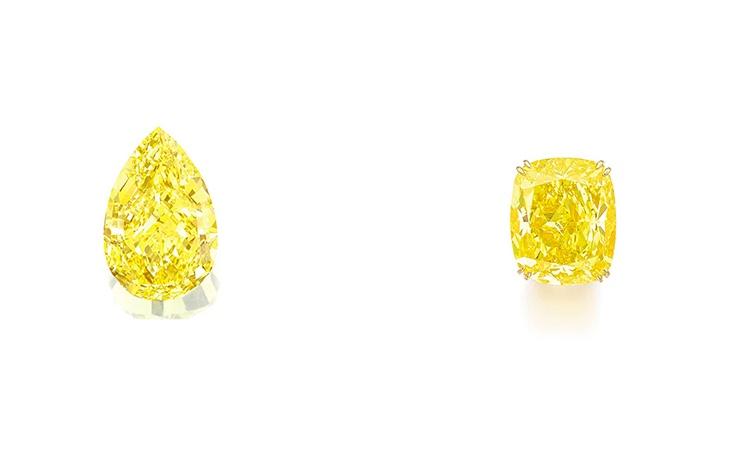 Links: The Sun-Drop Diamond (Foto: Sotheby's) Rechts: Der Diamant im Kissenschliff ist der derzeit teuerste gelbe Diamant in einer Auktion (Foto: Sotheby's)