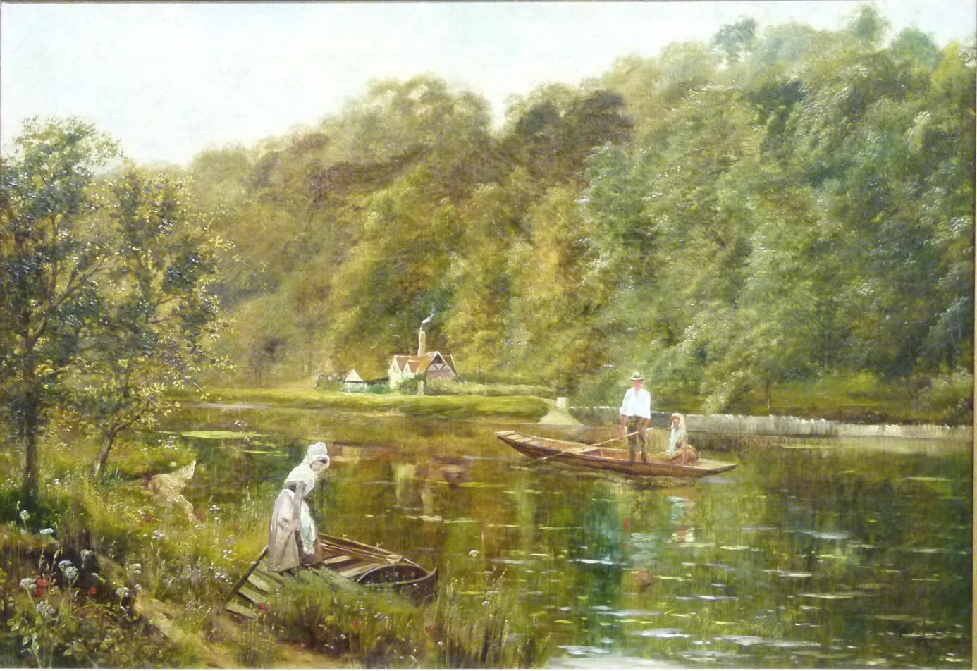 Theodore Hines (19. Jh., London), Frau besteigt ein Boot auf der Themse, signiert, Öl/Lwd. Schätzpreis: 4.500 EUR