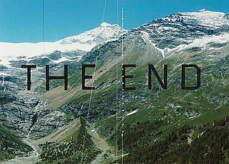 """66. ED RUSCHA, """"THE END #87"""". Signerad Ed Ruscha och daterad 2010. Märkt med """"Studio #D.2010.14"""" på etikett a tergo. Akryl, tusch och ristade linjer på fotografi monterat på museikartong, 31,8 x 38,5 cm."""