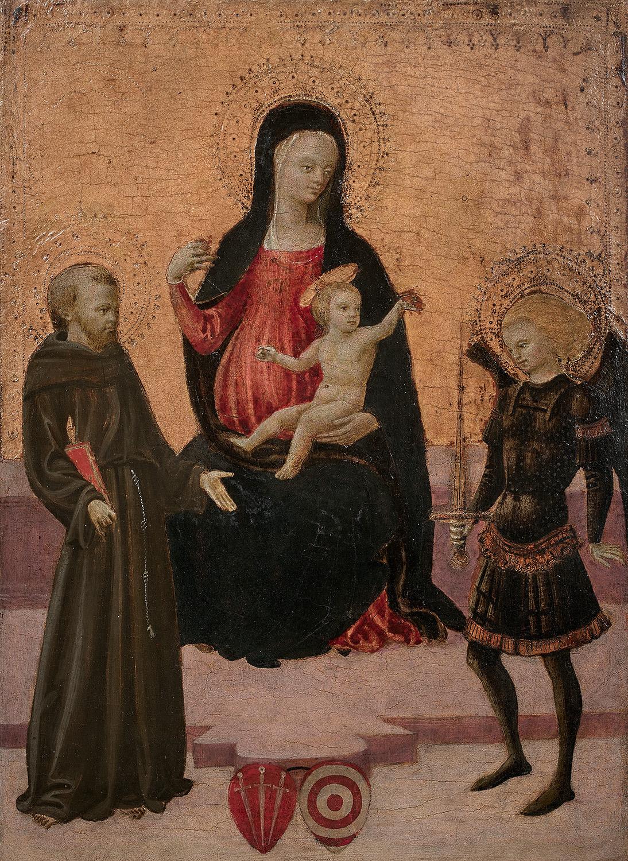 Apollonio di GIOVANNI, « La Vierge et l'Enfant entre saint François et saint Michel », image ©Tajan