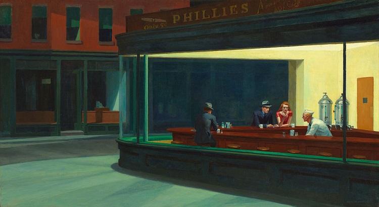 "Hoppers berömda tavla ""Nighthawks"", 1942"