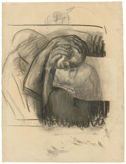 Käthe Kollwitz, 'Farewell', 1910, matita e carboncino su carta. Foto: Grisebach