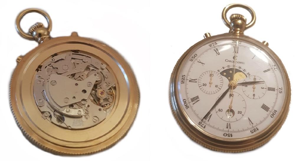CHRONOSWISS - Prunktaschenuhr mit Chronograph und Mondphase, vergoldete Meisterarbeit, um 1995