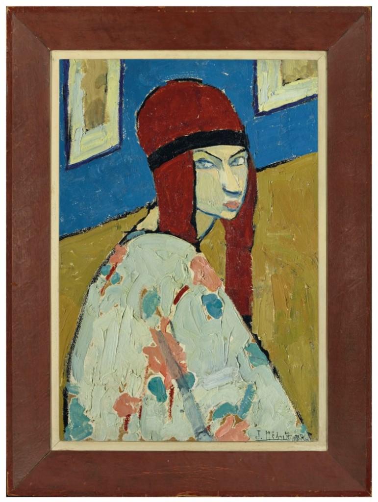 Das Selbstpotrait, dass Jeanne um 1917 von sich malte, wird am 18. Oktober bei Christie's in Paris versteigert. Jeanne hat sich mit den für sie typischen dicken Zöpfen dargestellt und trägt einen damals hochmodernen Kimono | Abb.: Christie's