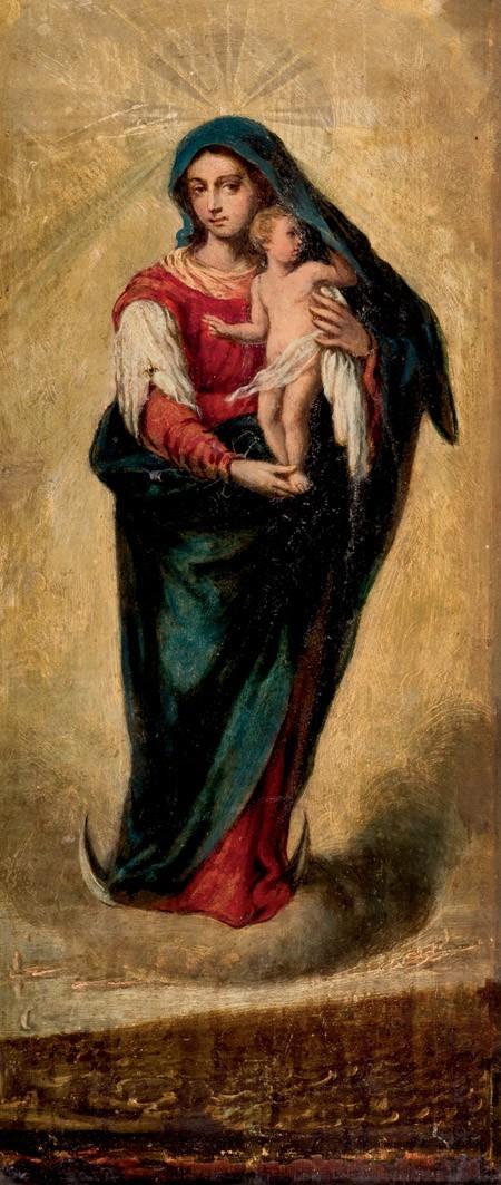 Jungfru Maria och Jesusbarnet, spansk skola 1900-tal. Foto: Duran Arté y Subastas.