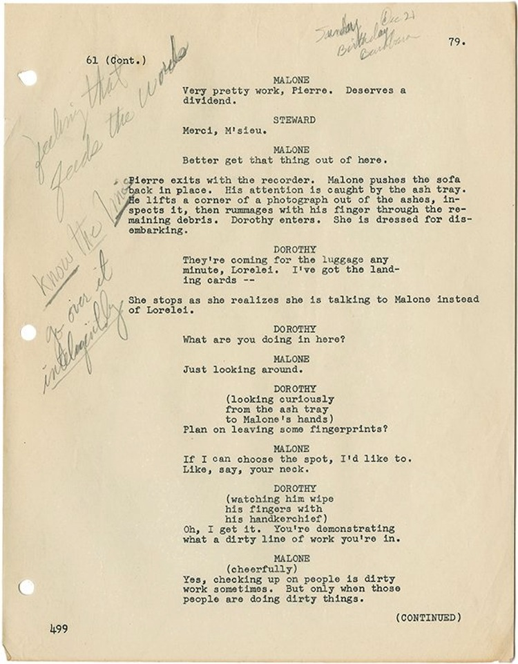 Marilyn Monroe's personally hand-annotated script from Gentlemen Prefer Blondes. (TCF, 1953). Estimated at $40,000 - $60,000. Profiles in History