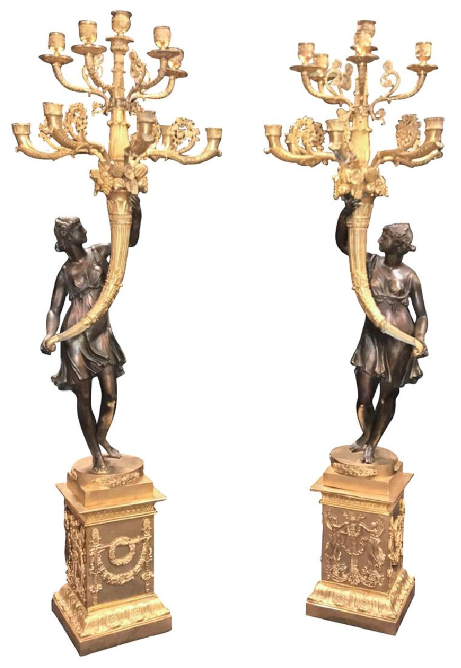 Palatial Pair Of Classical French Empire design-figural candelabra, 20th century