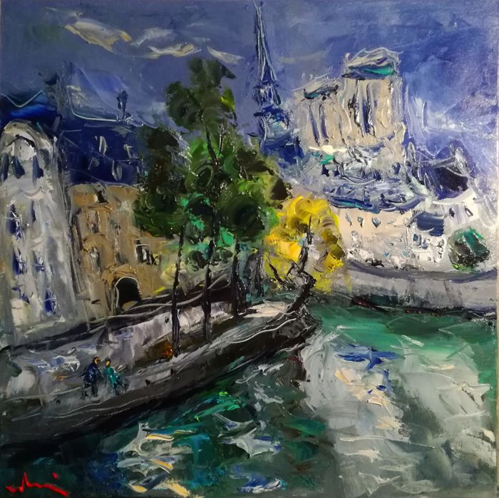 LUDOVIC LABBÉ - Île St Louis, Paris, Öl/Lwd., signiert