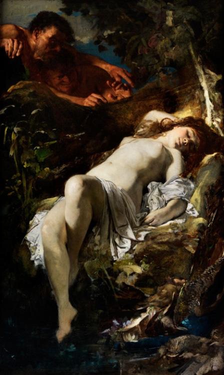 HANS MAKART (1840 Salzburg – 1884 Wien) - Susanna und die beiden Alten, Öl/Lwd., 161 x 79 cm, um 1860/62 Schätzpreis: 45.000-60.000 EUR