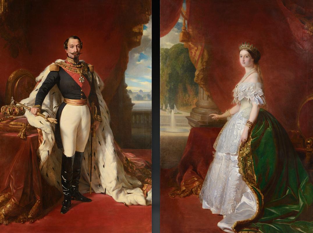 «L'Empereur Napoléon III et l'Impératrice Eugénie» WINTERHALTER, d'après. Ecole française de la fin du XIXème siècle