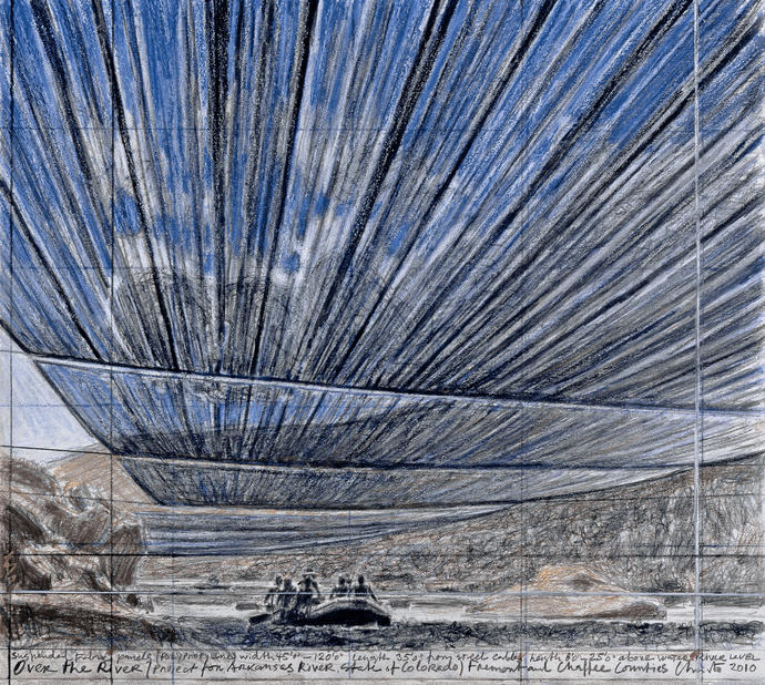 Christo, Over The River (Project for Arkansas River, State of Colorado) Dessin 2010, 35.2 x 38.7 cm Pencil, pastel, charcoal and wax crayon Photo: André Grossmann © 2010 Christo