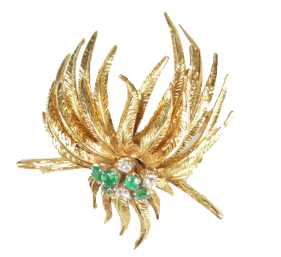 Broche gerbe en or avec brillants et émeraudes Rops