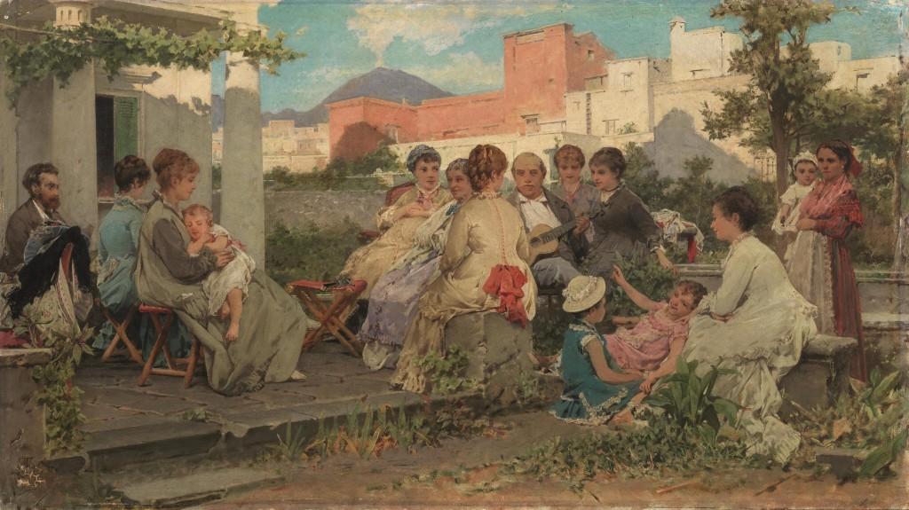 MICHELE TEDESCO (Moliterno (Potenza) 1834 - Napoli 1918) - Dopo Pranzo, Öl/Holztafel, 39 x 68,5 cm, signiert Schätzpreis: 40.000-60.000 EUR