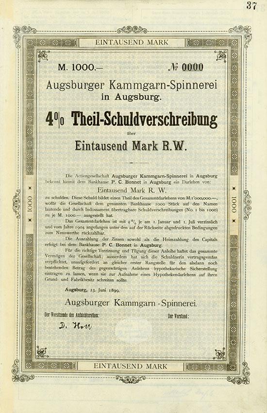 Augsburger Kammgarn-Spinnerei - Augsburg, 23.06.1899, Muster einer 4 % Theil-Schuldverschreibung über 1.000 Mark, nullbeziffert Ausruf: 2.500 EUR