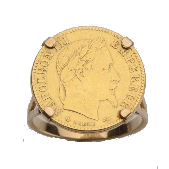 Bague en or jaune 18 ct (750) ornées d'un napoléon Magnin Wedry