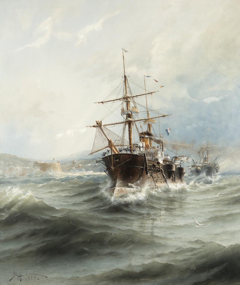 En av Sveriges främsta marina målare är utan tvekan Herman af Sillén, Franska pansarfregatter utanför Cherbo, 1889