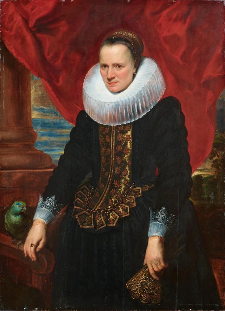 ANTHONIS VAN DYCK (1599 Antwerpen - 1641 London) - Bildnis einer Adeligen mit einem Papagei, Öl/Holz