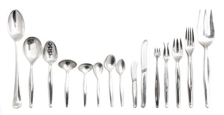 An American Silver Flatware Service. Estimate $ 2,000-4,000. Photo via Leslie Hindman Auctioneers