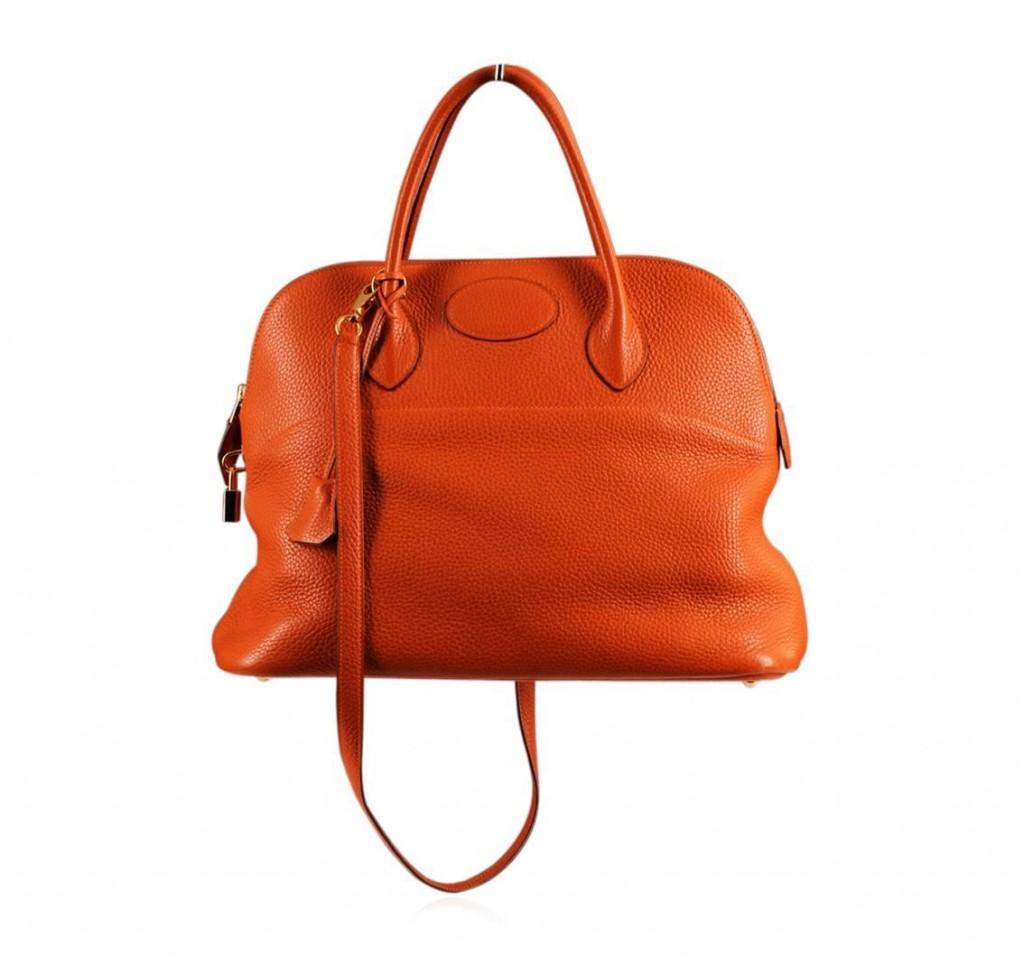Authentic Hermès Orange Togo Leather Bolide BagAuction begins on January 20