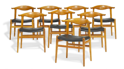 "Six fauteuils ""Cowhorn Chair"" par Hans J. Wegner"