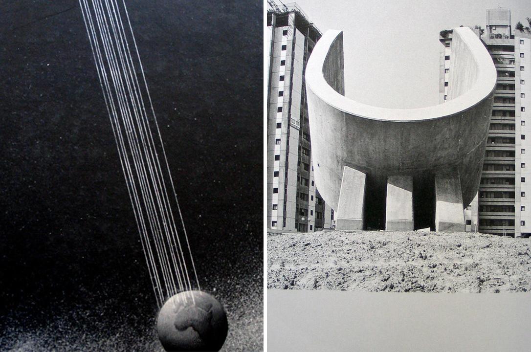 "Left: Cover of the book ""Ezra Orion, Intergalactic sculpture"" | Right: Ezra Orion Sculpture, 2011, image via Artslack"