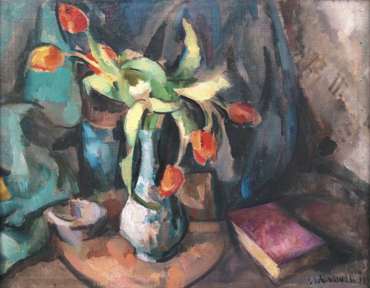 Gretchen Wohlwill (1878 Hamburg 1962), Stillleben mit Tulpen, Öl/Lwd., signiert