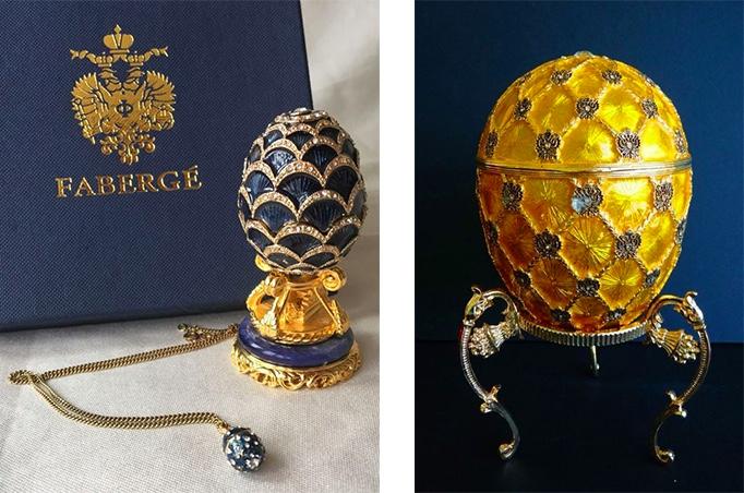Links: Fabergé - Blaues Pinienzapfen-Ei, Russland 2. Hälfte 20. Jh. Rechts: Fabergé - Kaiserliches Krönungs-Ei, 1992