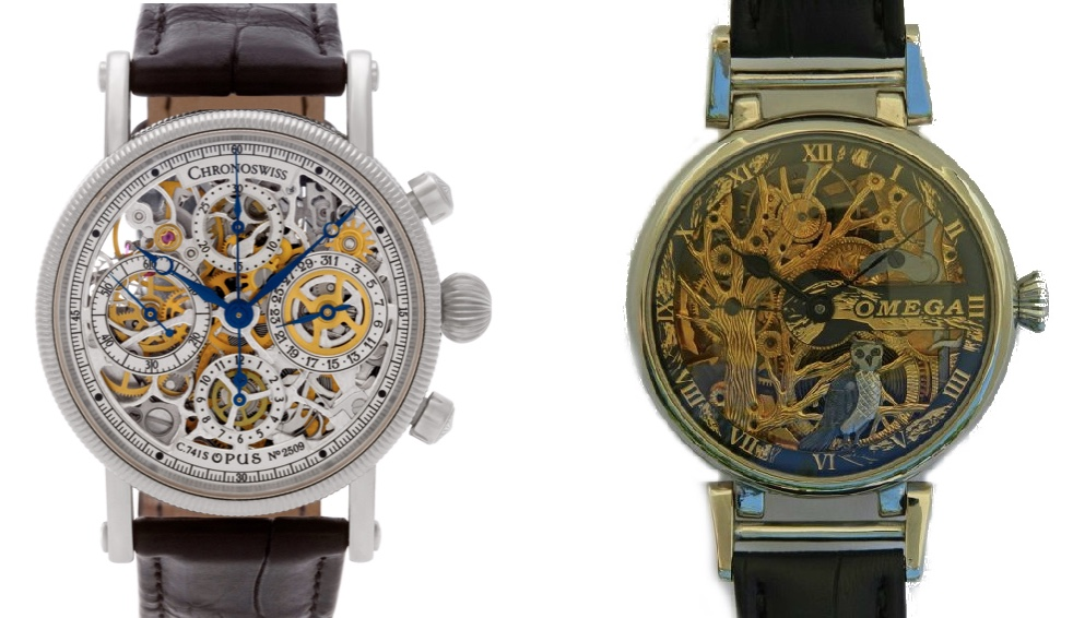 "Links: CHRONOSWISS - Opus CH7523 Skeleton Chronograph, 2010er JAhre Gray & Sons Rechts: OMEGA - Herren-Marriage-Armbanduhr ""Eulen-Skeleton"", um 1920 Catawiki"