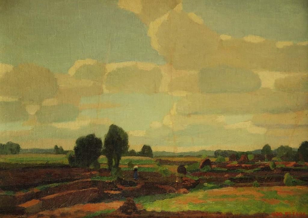 UDO PETERS (1884 Hannover - 1964 Worpswede) - Landschaft mit Torfhocken und Bäuerin, Öl/Lwd., 39x53,5 cm, signiert Startpreis: 900 EUR