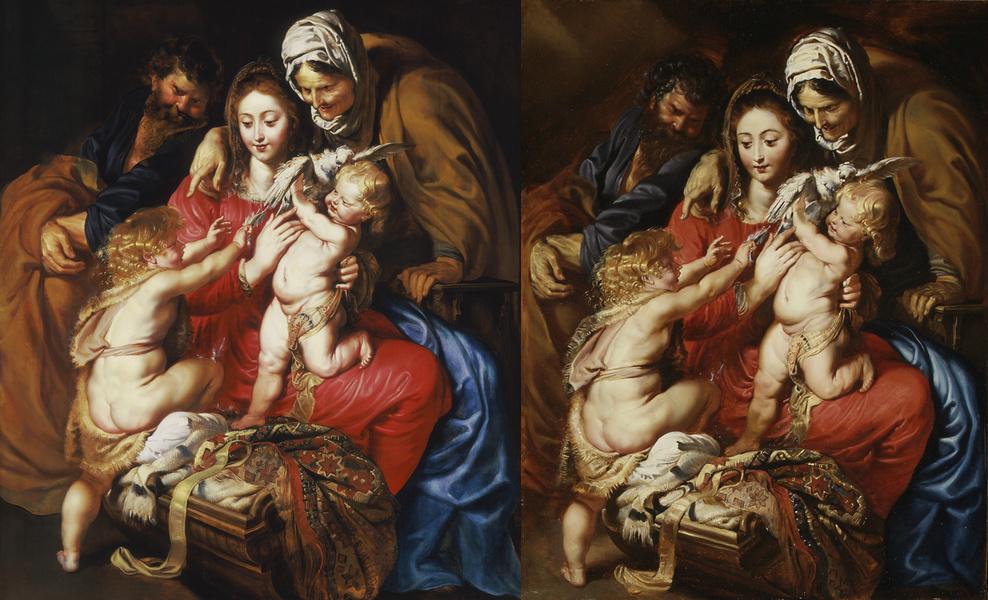 """Links: Die """"Heilige Familie"""" im Los Angeles County Museum of Art Rechts: Die """"Heilige Familie"""" im Metropolitan Museum of Art, New York"""