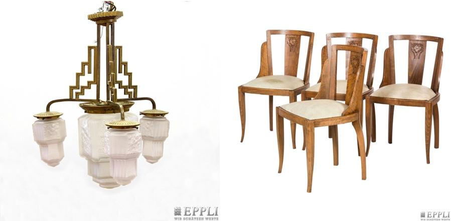 Links: MULLER FRÈRES (attr.) - Deckenlampe aus Metall und farblosem Pressglas, um 1930 | Rechts: 4 Art déco-Stühle aus massiver Eiche, Deutschland 1930er Jahre