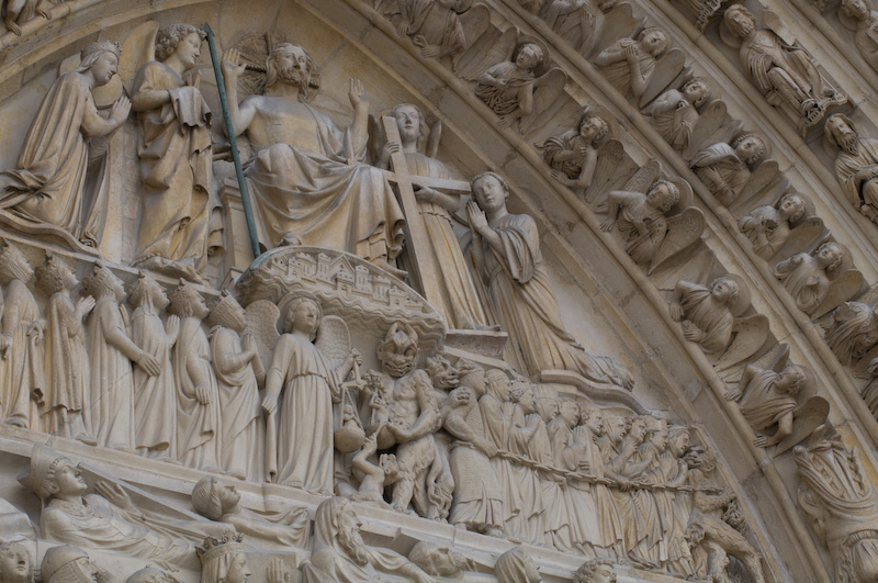 Day of Judgment scene on the front of Notre-Dame. Image: Jeff Mather Photography