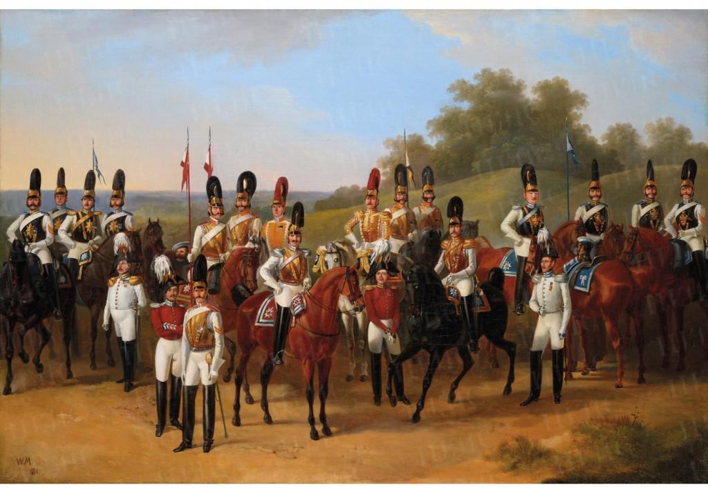 Victor Mazurowski, Ensemble d'officiers de différents régiments des Cuirassiers de la Garde, à l'époque de l'empereur Nicolas Ier de Russie, 1880
