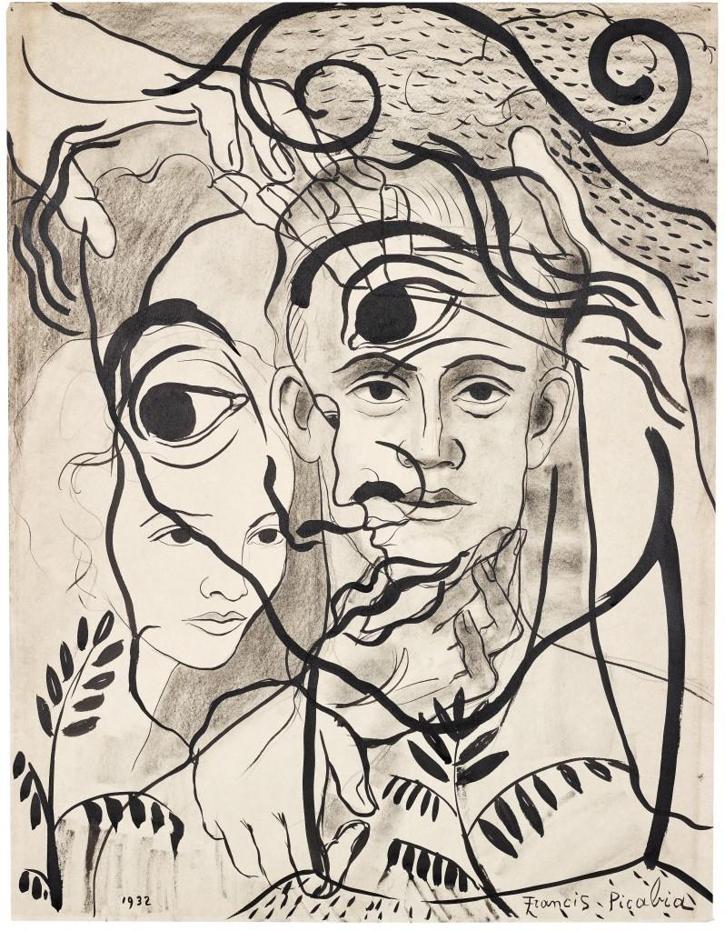 FRANCIS PICABIA, Untitled, crayon, encre, crayon de couleur / papier, 63,5 x 49,2 cm, signé et daté 1932 Estimation: 70,000-90,000 EUR