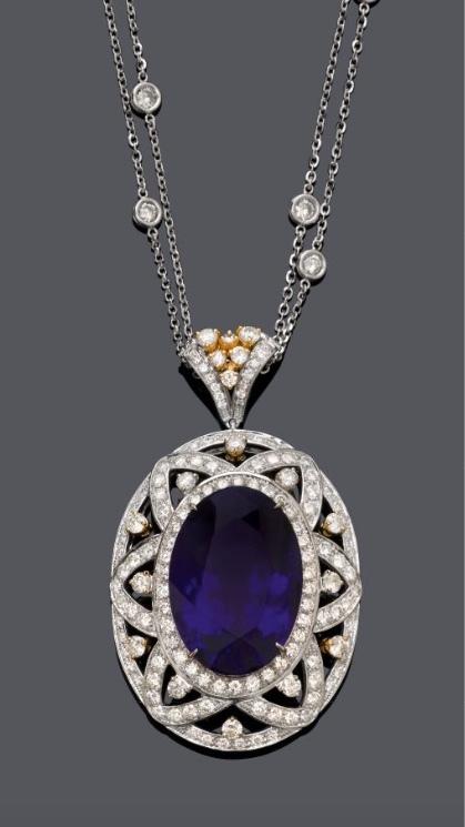 Colgante Tansanit de oro blanco, oro amarillo y diamantes. Precio estimado: de 32.800 a 50.930 €