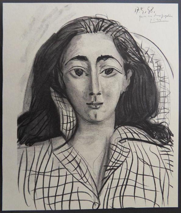 Pablo Picasso, porträtt av Jacqueline Roque, Picassos musa och andra fru. Litografin är tryckt på velängpapper år 1958.
