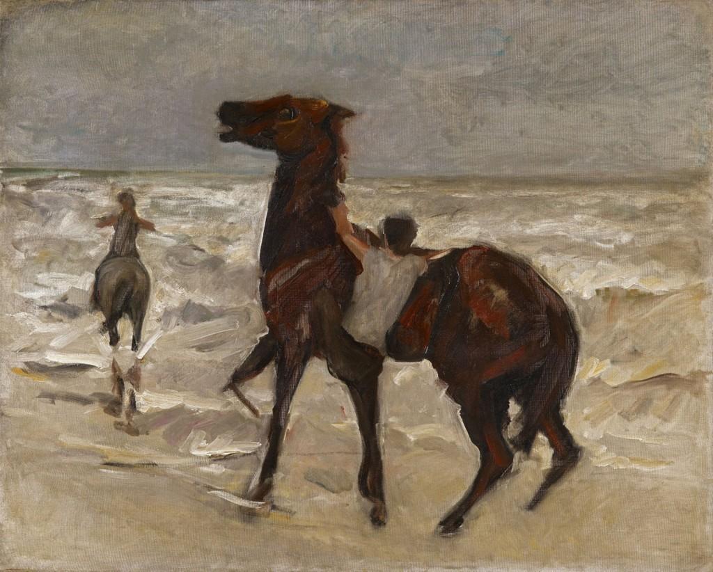 MAX LIEBERMANN (1847 - Berlin - 1935) - Pferdeknechte am Strand, Öl/Lwd., 70,8 x 88,3 cm, um 1909 Schätzpreis: 220.000-250.000 EUR