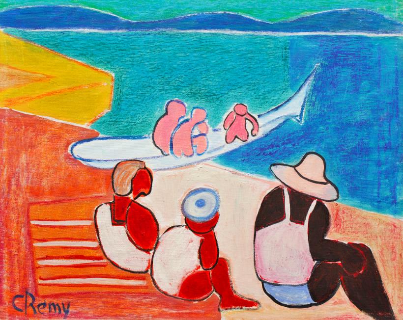 Pirogue au bord de mer, Huile et pastel gras sur toile signée C. Rémy (École Hollandaise du 20e) Accademia Fine Art