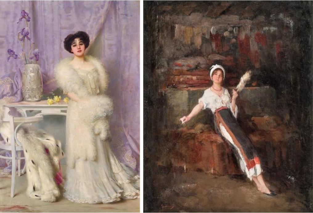 Links: VITTORIO MATTEO CORCOS (Livorno 1859–1933 Florenz) - Portrait von Diane de la Bouchère, Öl/Lwd., bezeichnet, signiert und datiert, 1903 Rechts: NICOLAE GRIGORESCU (Pitaru 1838–1907 Câmpina) - Die Spinnerin, Öl/Lwd., signiert