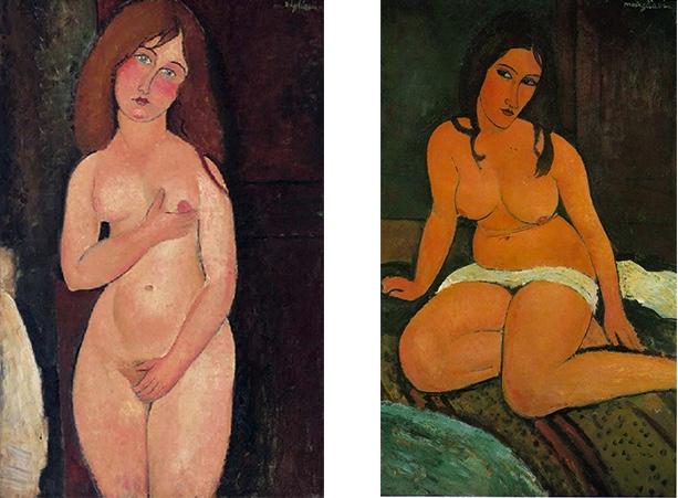 Links: Amedeo Modigliani, Vénus (Nu debout, nu médicis), 1917 | Abb. via Christie's Rechts: Amedeo Modigliani, Nu assis, 1917 | Abb. via Royal Museum of Fine Arts Antwerp