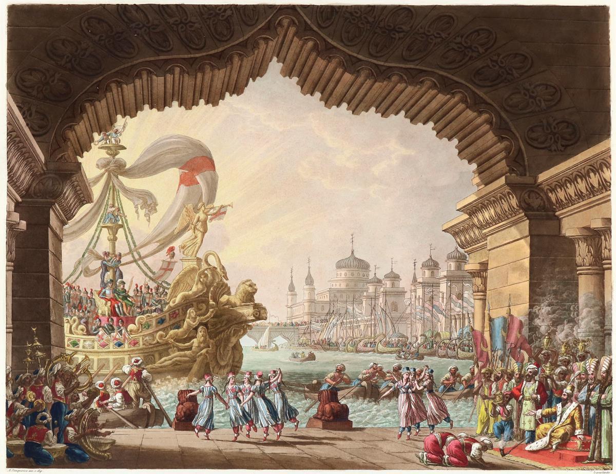 Alessandro Sanquirico (1777 Mailand 1849), Raccolta di varie decorazioni sceniche inventate e dipinte. per L'I. R. Teatro alla Scala, um 1827