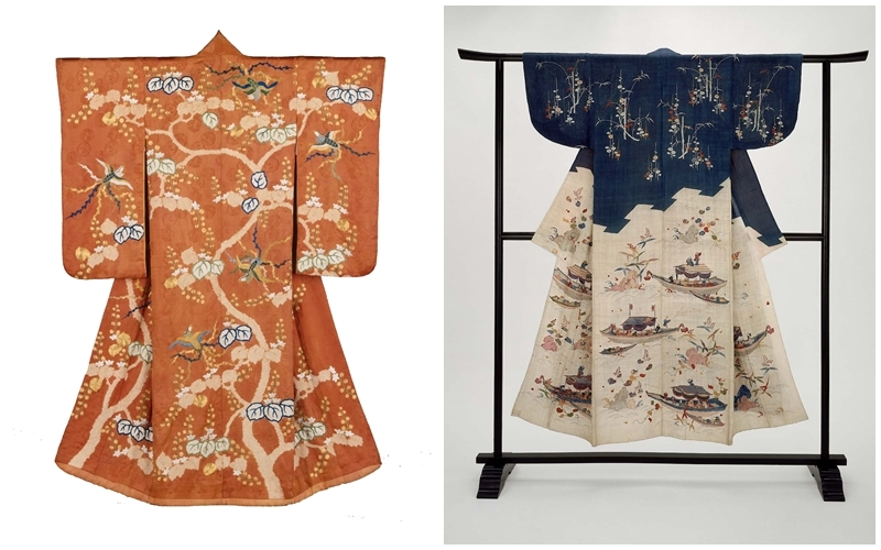 Links: Kimono der Edo-Zeit gefärbt mit der Kanoko-Shibori-Technik | Foto via Pinterest || Rechts: Kimono der Edo-Zeit | Foto via Boston Museum of Fine Arts