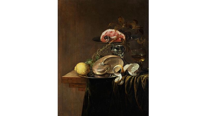 JASPAR GEERARDS (um 1620 – um 1654 Amsterdam) - Großes Prunkstillleben mit Nautilusmuschel, Zitronen und Schinkenstück in einer Tazza, Öl/Holz, monogrammiert