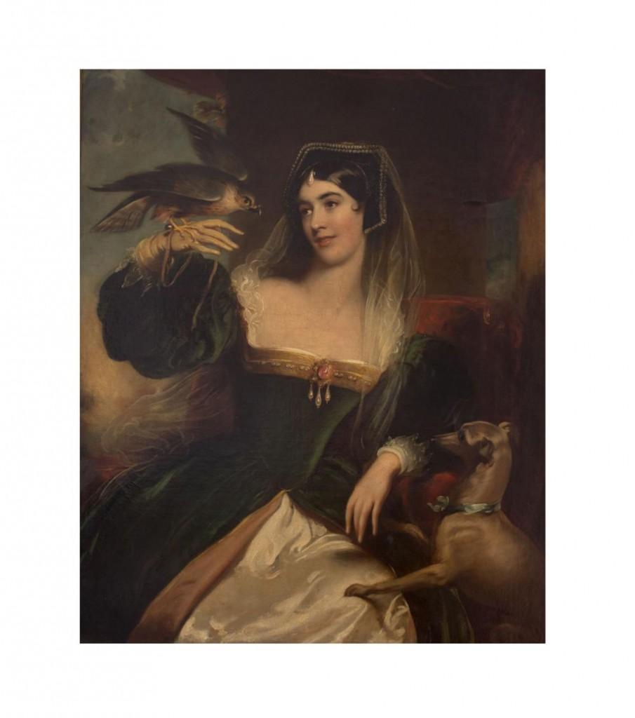 FRANZ XAVER WINTERHALTER (1806 Menzenschwand - 1873 Frankfurt/Main) attr. - Portrait einer Dame mit Falke und Windhund, Öl/Lwd.