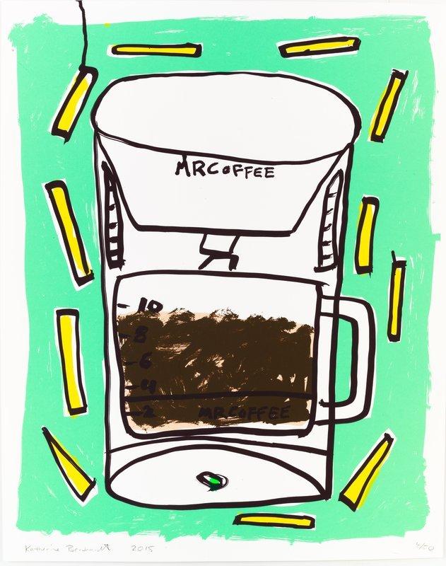 Katherine Bernhardt, Mr. Coffee with Fries, 2015.